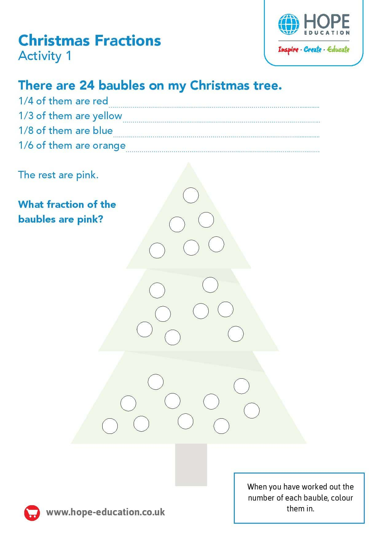 hight resolution of Christmas tree fractions: A festive maths worksheet - Hope Education blog