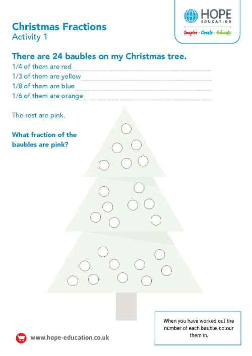small resolution of Christmas tree fractions: A festive maths worksheet - Hope Education blog