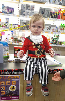 Baby dressed as a pirate