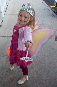 Girl dressed as a fairy at Horkans Halloween party