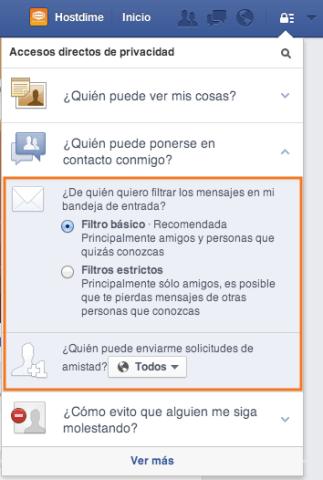 configurar quien puede contactarme en facebook