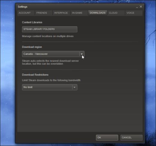 escoger servidor de descarga steam