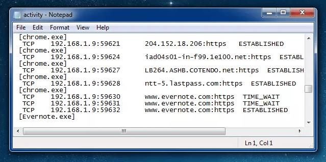 informacion de conexiones de los programas en txt