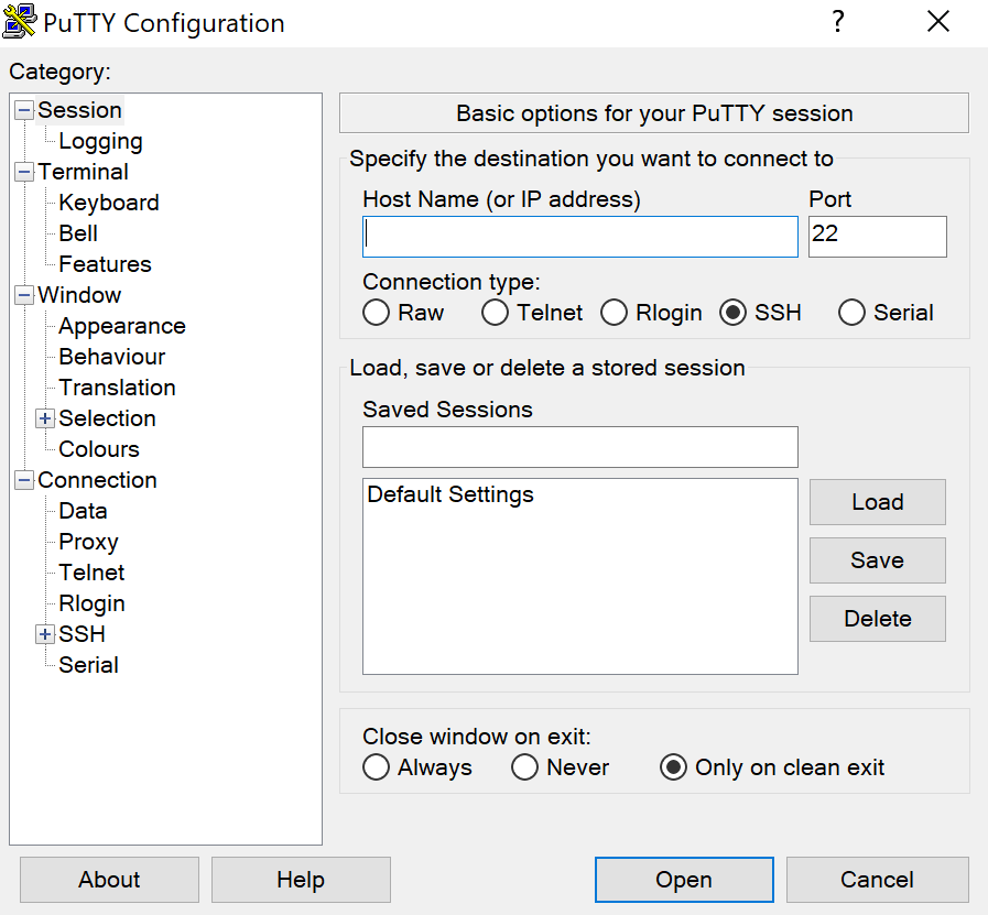 The main menu of PuTTY SSH client