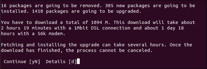 Confirm Ubuntu Update via Command Line