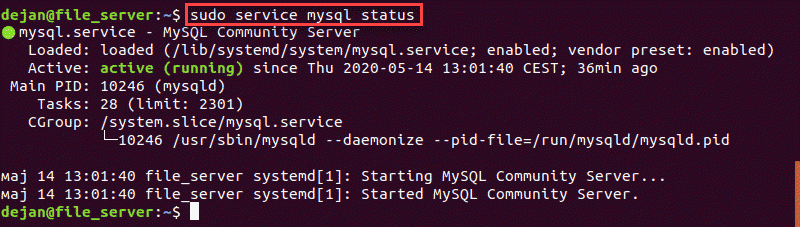 Image of a terminal output displaying that MySQL is active.