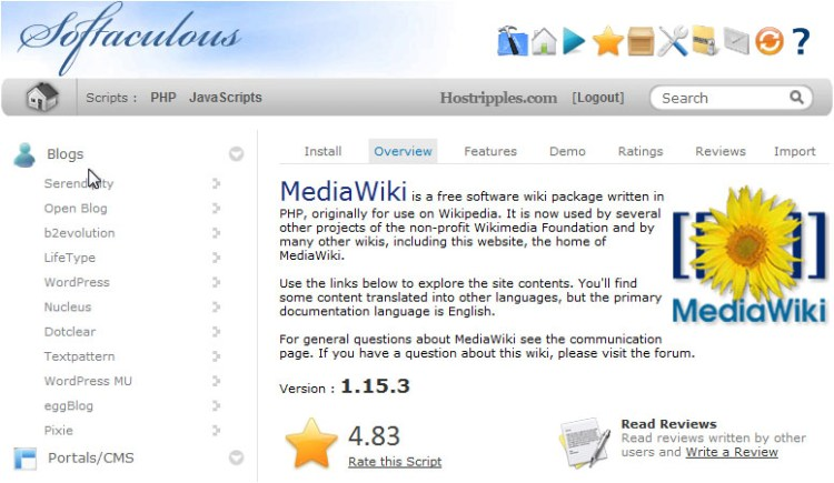 How to install MediaWiki from Softaculous