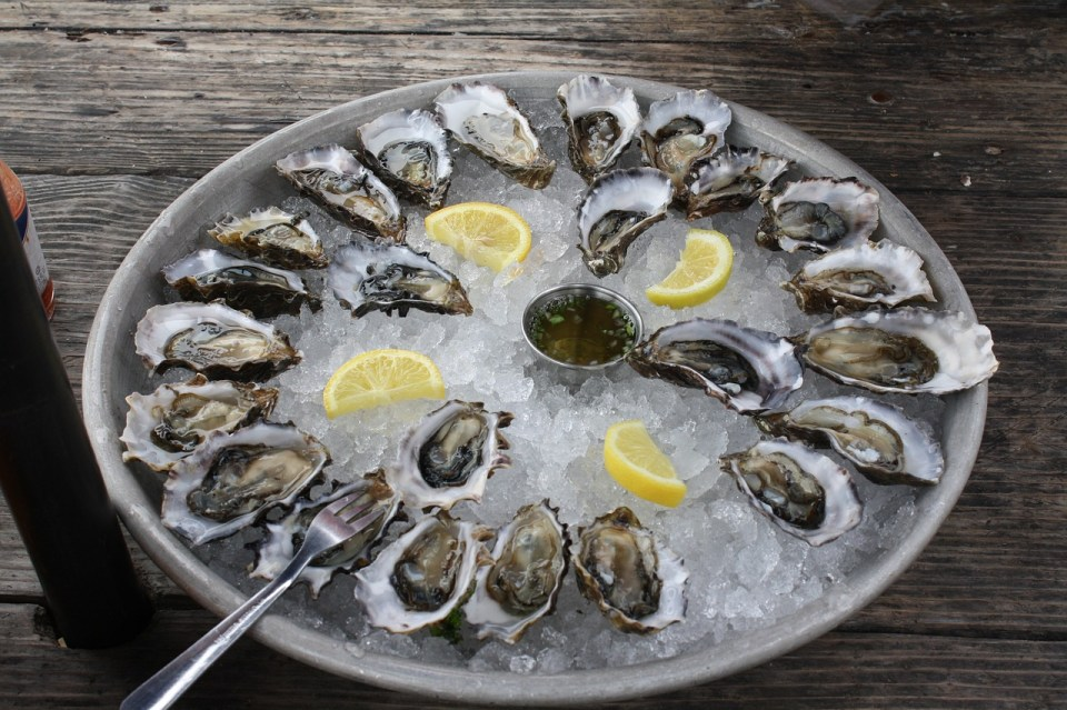 bowl of oysters and lemons on ice sitting on a wooden floor background