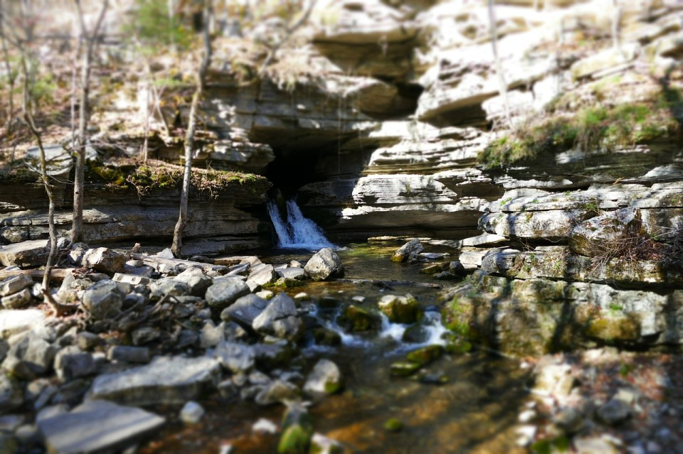 outdoor waterfall on a clear day at Hot Springs National Park , Arkansas