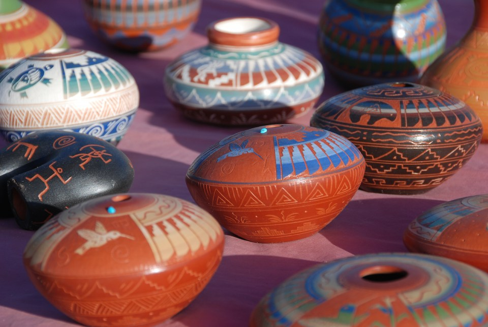 Southwest Native American Indian pottery vases on display