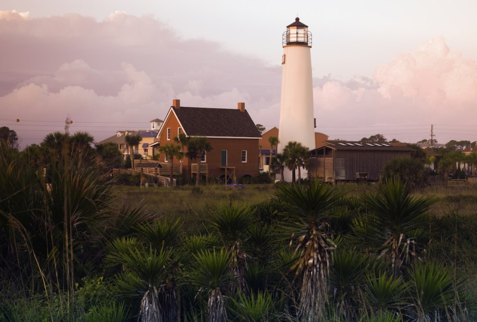 Lighthouse at Cape St. George Florida during sunset
