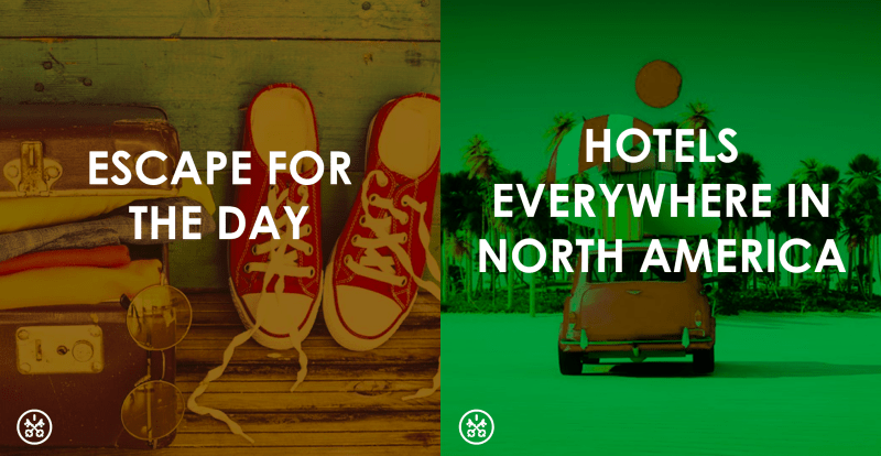Book a hotel room to work, rest, freshen up, across North America!
