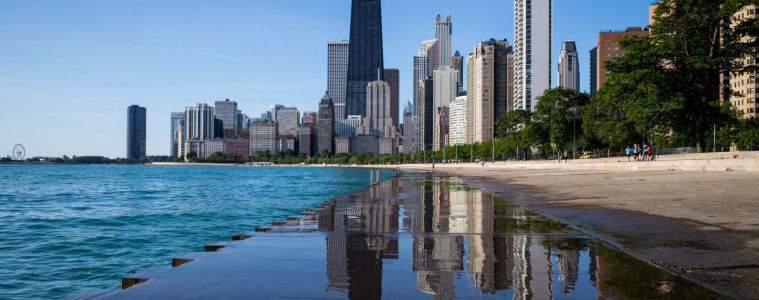 Skyline of Chicago as seen from aerial view over Oak Street Beach.