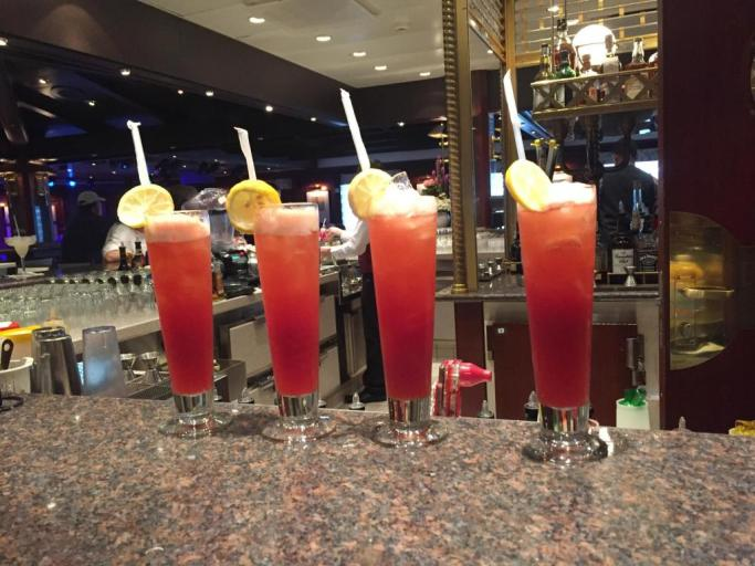 Drinks on a cruise ship