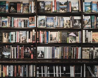 Shelves and shelves filled with books in a London independent bookshop.