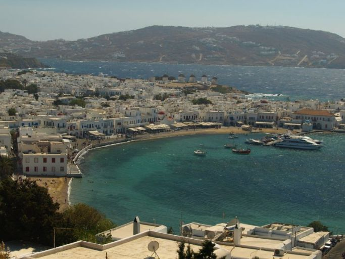 Zoomed-out view of Mykonos, Greece.