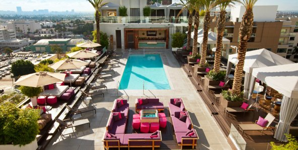 View of pool and daybeds at W Hollywood Los Angeles