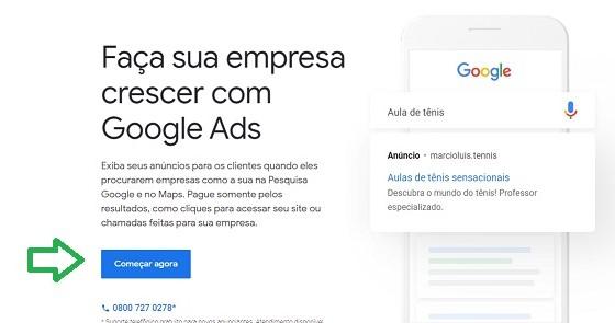 criar conta no google ads