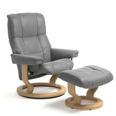 Stressless Mayfair Small Recliner Chair and Stool in Grey and Oak