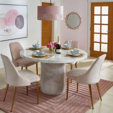 Circular marble table and Isla Chairs