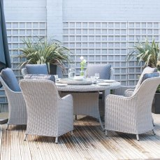 Cairo Round Rattan Garden Dining Table & 6 Chairs