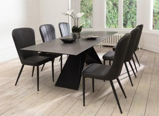 Venezia Grey Ceramic Dining Table & Mason Dark Grey Chairs