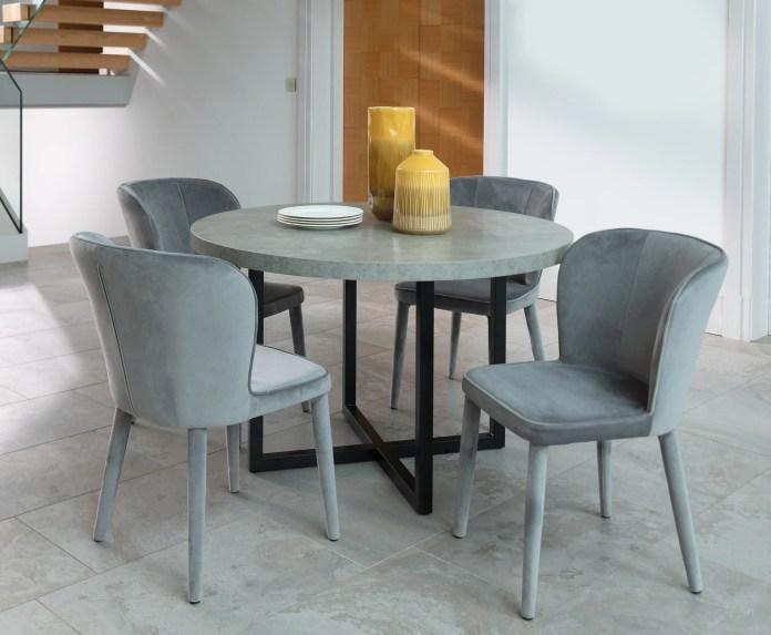 Caspian 120cm Round Dining Table & 4 Skyla Grey Chairs