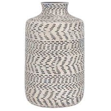 Textured Natural and Black Vase