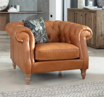 Lytham Caramel Leather Armchair