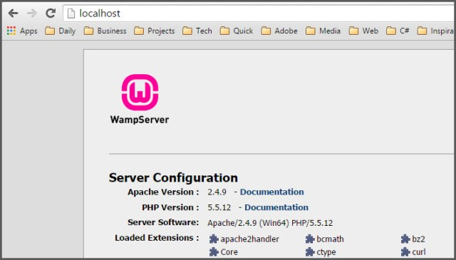 Installing-and-configuring-wamp-server-home-page