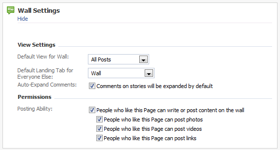 Facebook Page Wall Settings