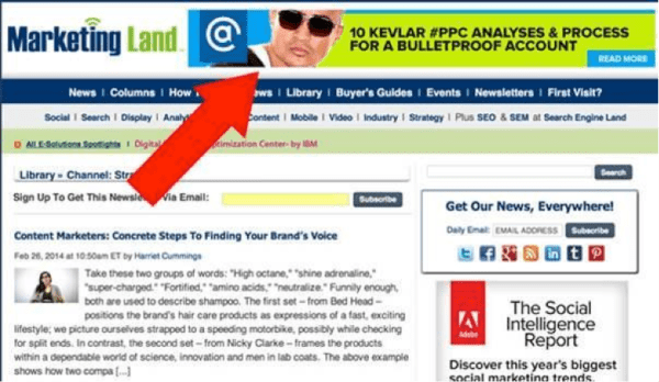 """remarketing ad at the top of a page that says """"10 kevlar ppc analyses and process for a bulletproof account"""""""