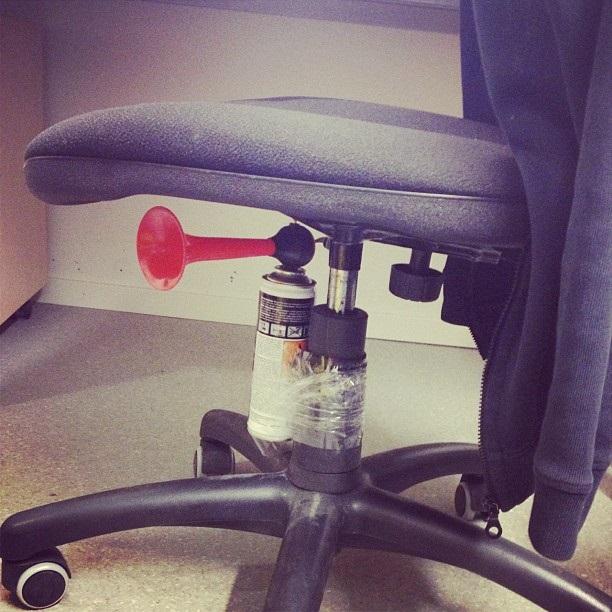 chair foghorn prank