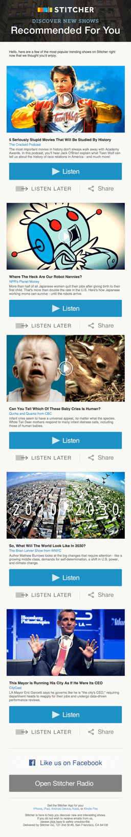 Email marketing campaign example by Stitcher showing 'Recommended for You' content