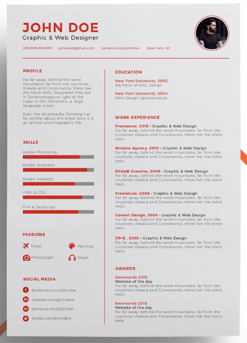cool looking resumes template