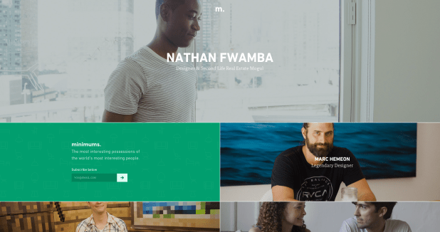 Homepage of Minimums, a cool website design