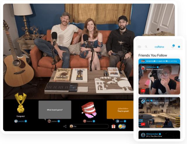 Caffeine.tv's streaming app interface
