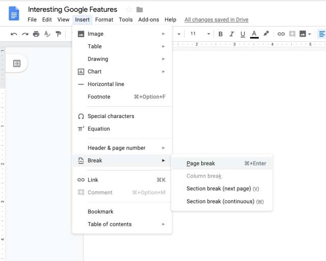 Add a page in Google Docs