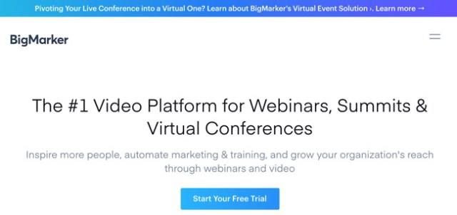 BigMarker Website homepage with a blue and purple gradient bar and text that reads the number one video platform for webinars, summits and virtual conferences and a call-to-action inviting you to start a free trial