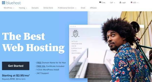 product page for bluehost wordpress website hosting