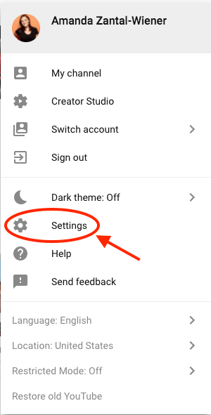 menu setting youtube