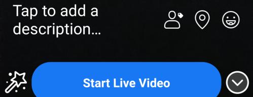 Screenshot of Facebook Start Live Video
