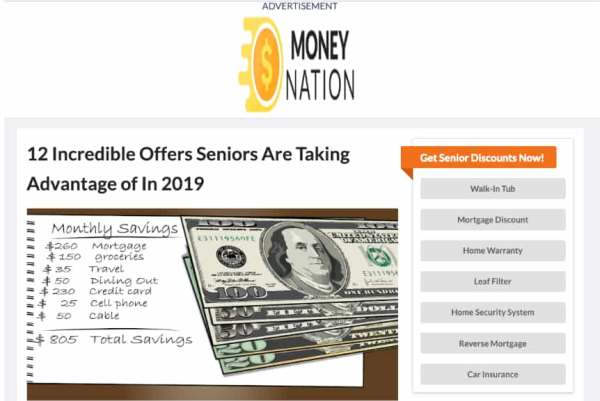 Full page native advertisement offering senior discounts