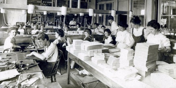 Workers creating and mass-producing Valentine's Day cards