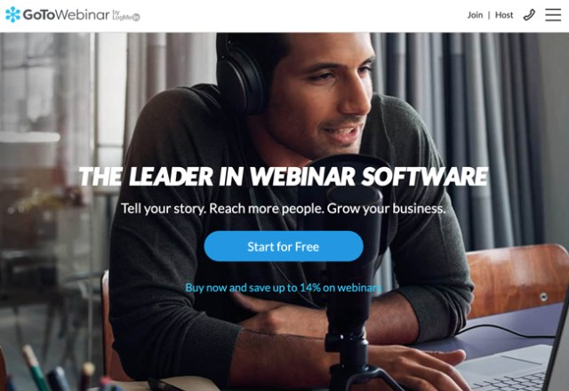 GoToWebinar Website homepage of a man with headphones on speaking into a microphone and text overlay that says The leader in webinar software tell your story. Reach more people. grow your business. Start for free. Buy now and save up to 14 percent on webinars.