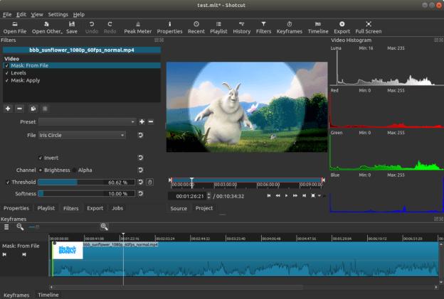 Shotcut video editing software mask file