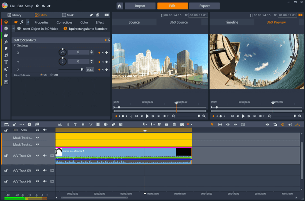 Pinnacle Studio 24 video editing software showing 360 camera landscape footage