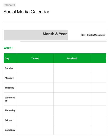 social media calendar tools: Evernote