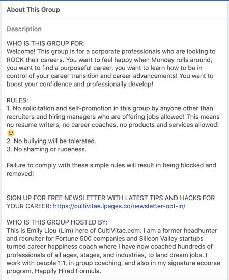 Career coaching Facebook group rules