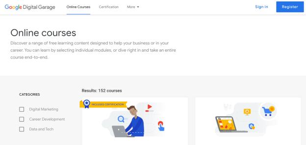 Google Digital Garage marketing certification course homepage